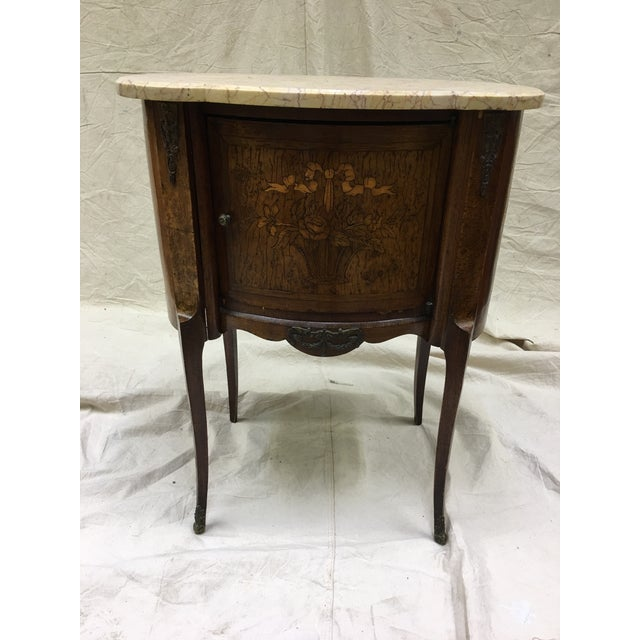 Antique French Inlaid Marble Top and Decorative Bronze Ormolu Side Table For Sale - Image 12 of 12