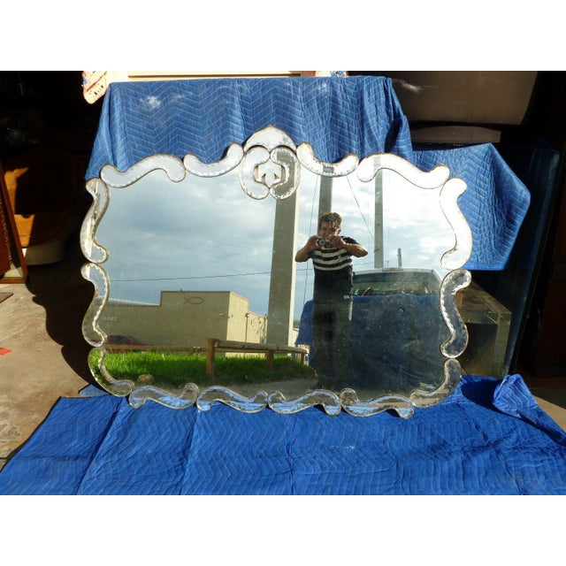 Glass 1940's Hollywood Regency Wall Mirror For Sale - Image 7 of 8
