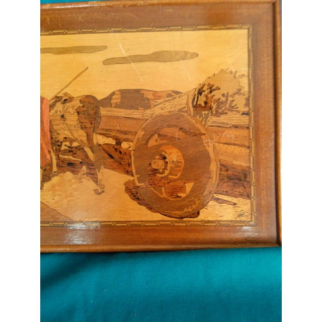 Vintage Arts & Crafts Inlaid Wood Picture For Sale - Image 4 of 5