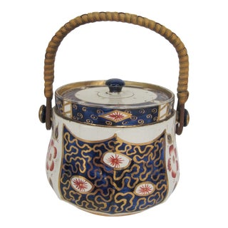 Vintage English Sadler Blue and White Biscuit Jar With Rattan Handle For Sale