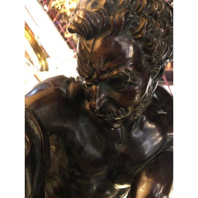Late 19th Century After Edme Dumont 19th Cent Large Bronze Depicting Male Figure of Milo De Croton For Sale - Image 5 of 13