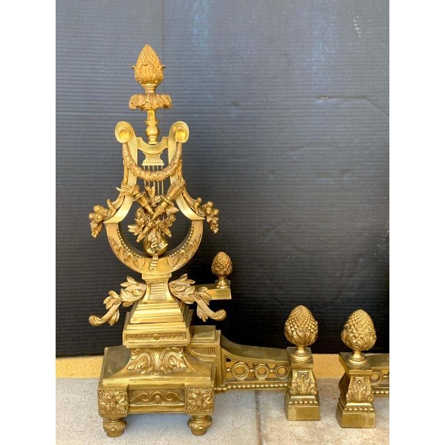 French Gorgeous Pair of Louis XVI Style Gilt Bronze Lyre Motif Chenets, Large Scale For Sale - Image 3 of 13