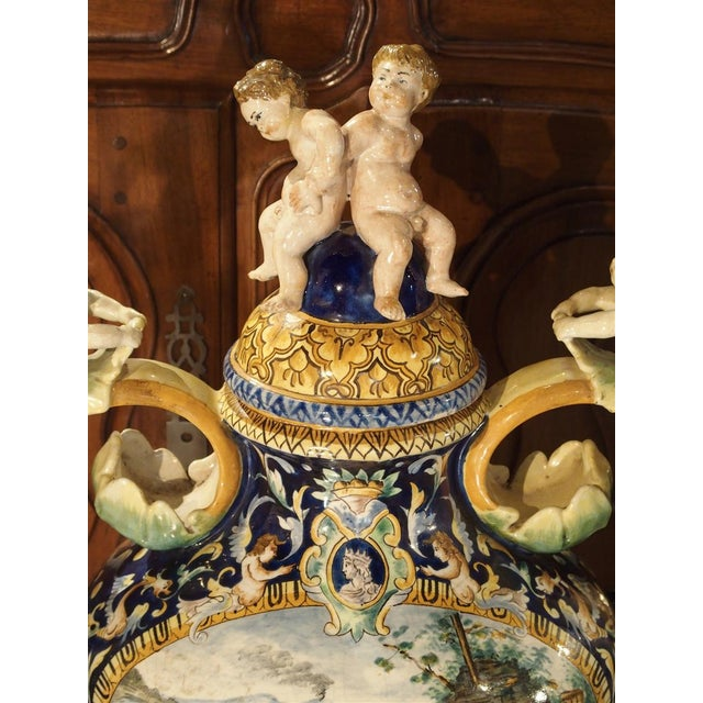Italian A Large Painted Italian Majolica Urn Circa 1885 For Sale - Image 3 of 12
