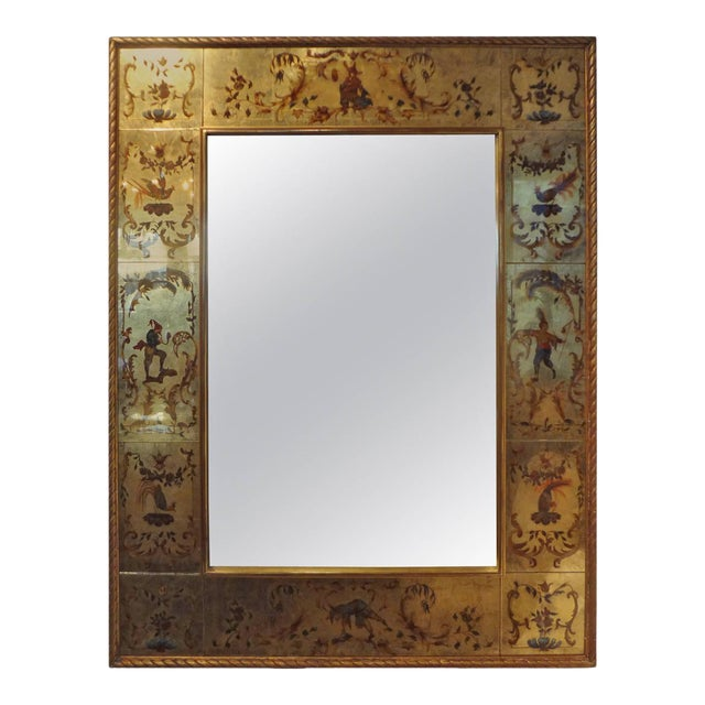 Vintage French Maison Jansen Style Chinioserie Eglomise Mirror For Sale