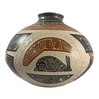 Rabbit and Crow Hand Etched Polychrome Vase Signed by Juan Carlos Rodriguez For Sale