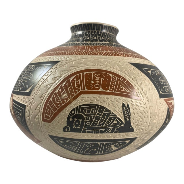 Rabbit and Crow Polychrome Vase by Juan Carlos Rodriguez For Sale