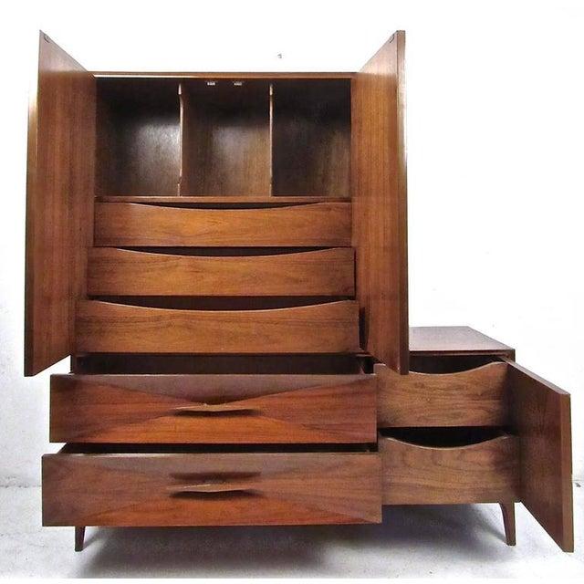 Two-Piece Vintage Modern Sculpted Bedroom Dresser For Sale - Image 4 of 11