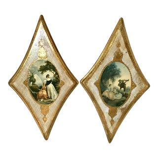 Vintage Italian Florentine Wall Hangings - A Pair For Sale