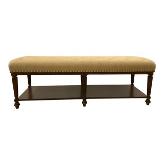 Legacy Classic Transitional Upholstered Wooden Bench For Sale