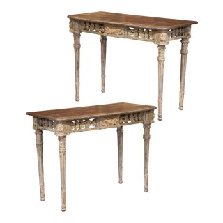 French Louis XVI Carved Polychrome Painted Four-Leg Consoles Tables - A Pair