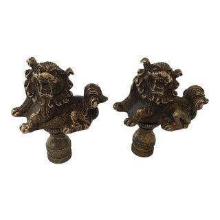 Bronze Foo Dog Lamp Finials – a Pair