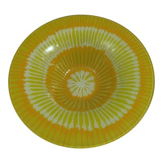 1970s Mid-Century Modern Higgins Fused Yellow Glass Bowl