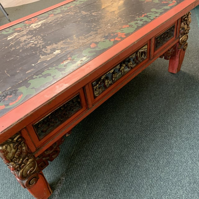 Black Mid-20th Century Chinese Hand Painted + Carved Coffee Table For Sale - Image 8 of 12