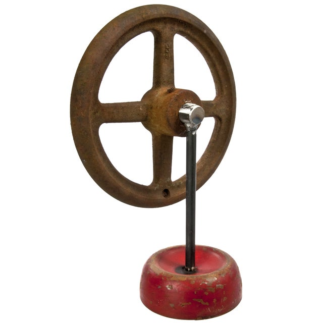Industrial Vintage Industrial Cast Iron Valve Handle on Stand For Sale - Image 3 of 3