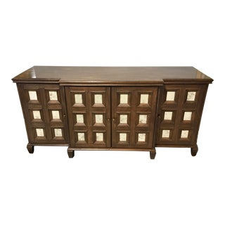 Currey & Co. Modern Antique Mirror and Walnut Finished Four Drawer Console Table For Sale