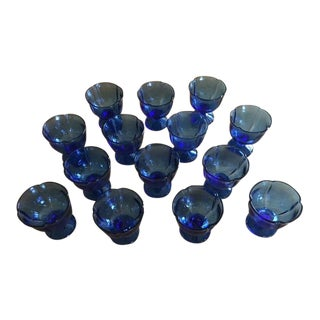 1970s Fostoria Cobalt Blue Sherbet Glasses - Set of 14 For Sale