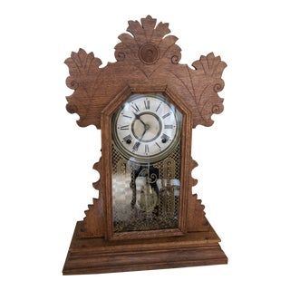 1900s Traditional Wooden Table Clock For Sale