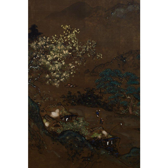 Mid 20th Century Japanese Four Panel Landscape Byobu Screen For Sale - Image 5 of 13
