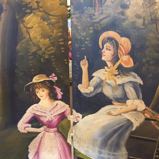 Hand Painted Colonial Scene Divider Screen For Sale - Image 11 of 11