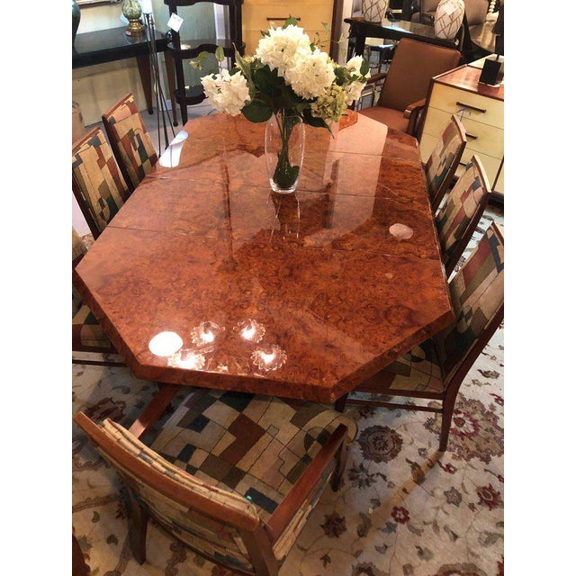 Mid-Century Milo Baughman For Thayer Coggin Burl Walnut Octagonal Dining Table For Sale - Image 10 of 12