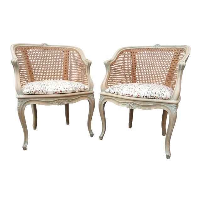 Pair of Italian Barrel Shaped Cane Back Chairs For Sale