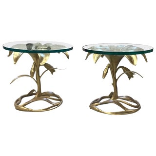 Arthur Court Metal Lily Side Tables-a Pair For Sale