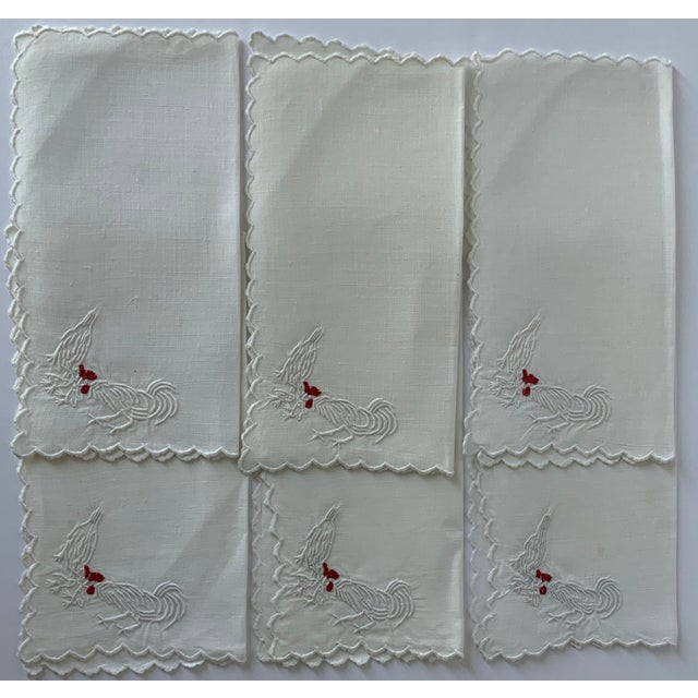 Textile Set of 6 Rooster & Hen Embroidered Cocktail Napkins For Sale - Image 7 of 7