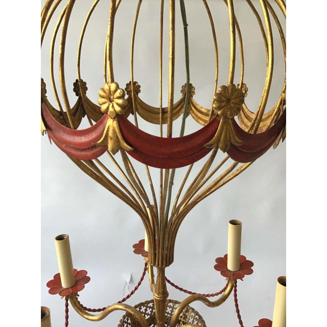 Gold 1970s Italian Gilt Iron Hot Air Balloon Chandelier For Sale - Image 8 of 11