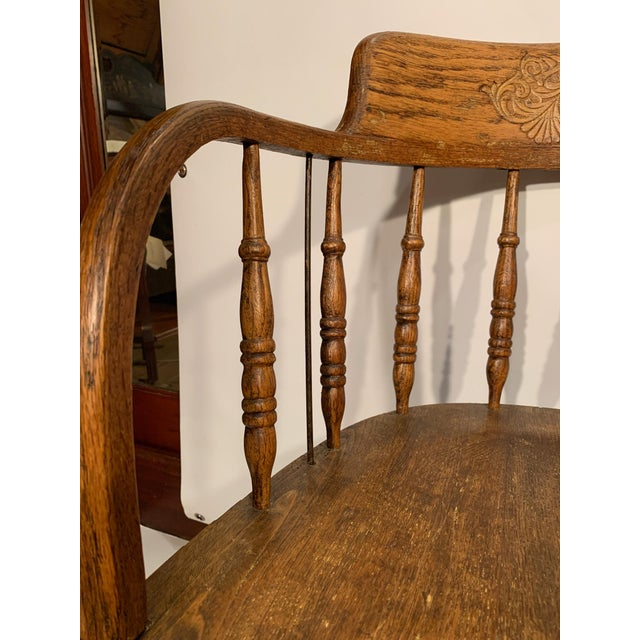 Antique Oak Captain's Chair For Sale - Image 4 of 8