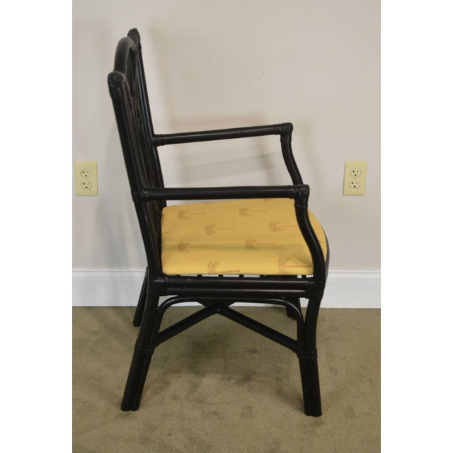 McGuire McGuire Style Set 8 Black Rattan Bamboo Dining Chairs For Sale - Image 4 of 13