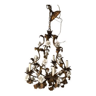 Porcelain Rose & Gold Leaf 5 Arms Chandelier