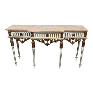 Louis XVI Style Marble Top Console Table For Sale
