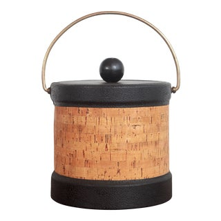 Vintage Mid Century Modern Cork & Black Vinyl Ice Bucket For Sale