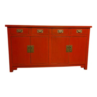 Asian Style Red Buffet Table For Sale
