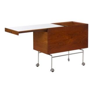 Vintage Danish Mid Century Modern Teak & Metal Serving Bar Cart For Sale