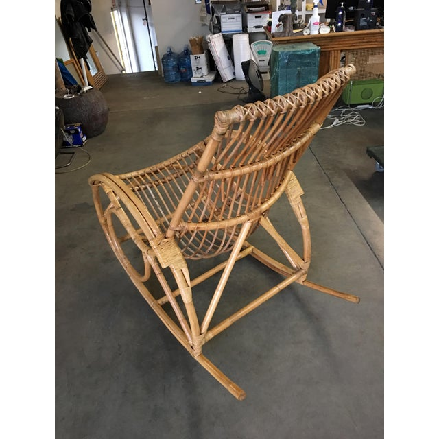 Restored Oversized Stick Rattan Rocking Chair in the Style of Franco Albini For Sale - Image 9 of 12