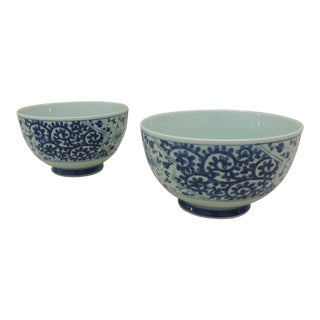Pair of Blue and White Bowls For Sale