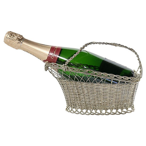 Art Deco Vintage French Silver-Plate Wine Basket For Sale - Image 3 of 3