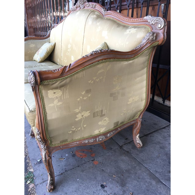 Antique French Olive Green Silk Upholstered Carved Wood Sofa For Sale In Los Angeles - Image 6 of 10