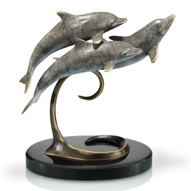 Metal Swimming Dolphins Sculpture For Sale - Image 7 of 7