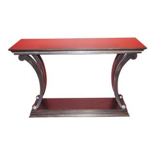 Art Deco Style Solid Cherry Ebonized Console For Sale