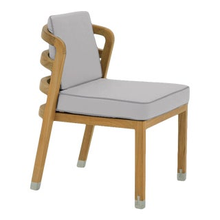 Linley Dining Side Chair in Fashionable Grey with Moonlit Orchid Welt For Sale
