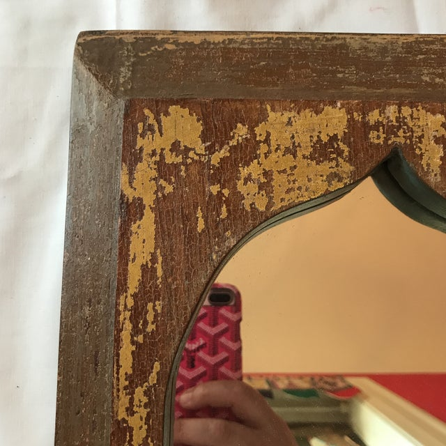 Vintage Indian Archway Painted Teak Mirror For Sale - Image 11 of 11