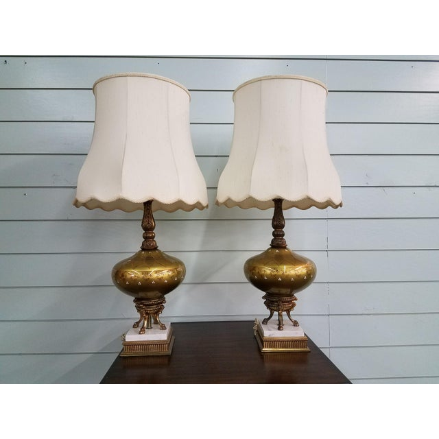 1950s Mid-Century Modern Gold Glass Globe Lamps - a Pair For Sale - Image 11 of 11