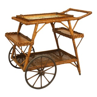 American Wicker Bar Cart For Sale