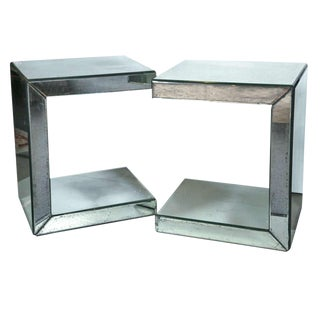 Pair of Hollywood Regency Style C-Shaped Mirrored End Tables For Sale