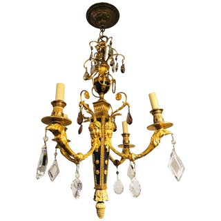 Louis XVI Style Gilt Bronze and Ebony Figural Neoclassical Chandelier For Sale