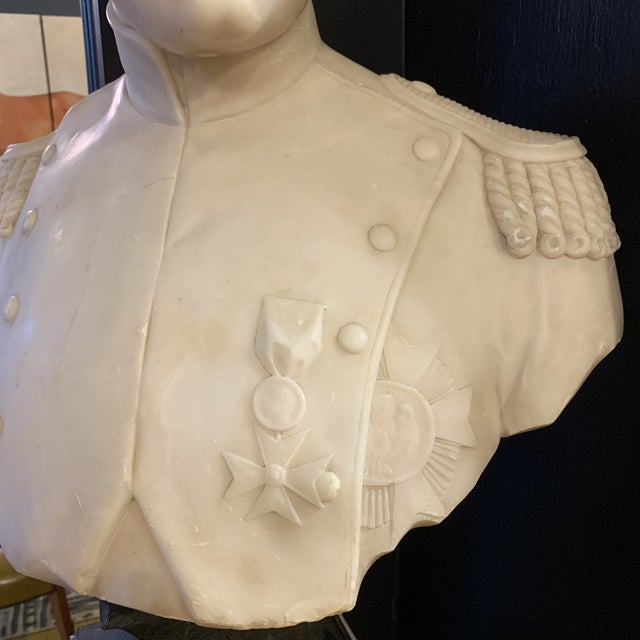 Napoleon Marble Bust W/ Granite Base For Sale - Image 9 of 10
