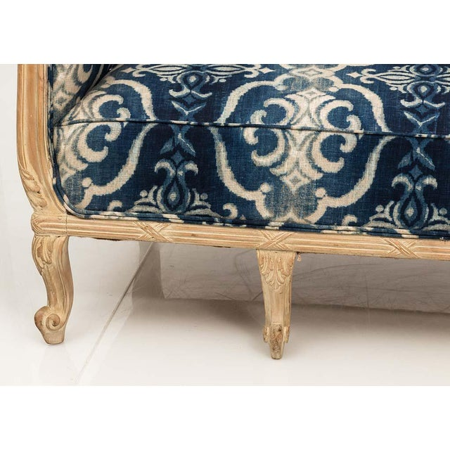 One-of-a-kind Chesterfield sofa made in France, updated in blue ikat pattern linen fabric by Andrew Martin. Deep, high-...