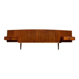 Danish Modern Teak Queen Headboard With Floating Nightstands For Sale